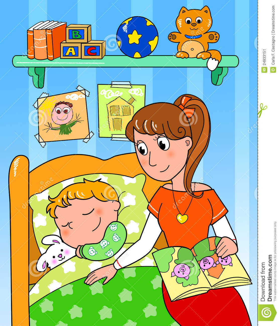 Good Download Child At Bed With Mom Stock Illustration. Illustration Of Sleeping    24833151