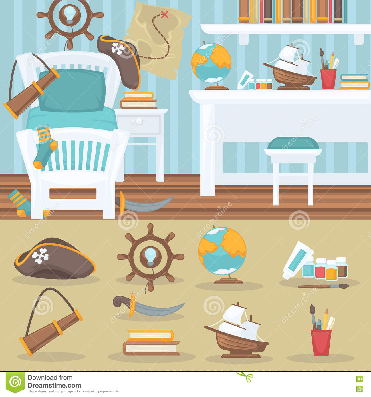 Image of: Child Bedroom Interior For Boy Stock Vector Illustration Of Bedroom Ball 77865739