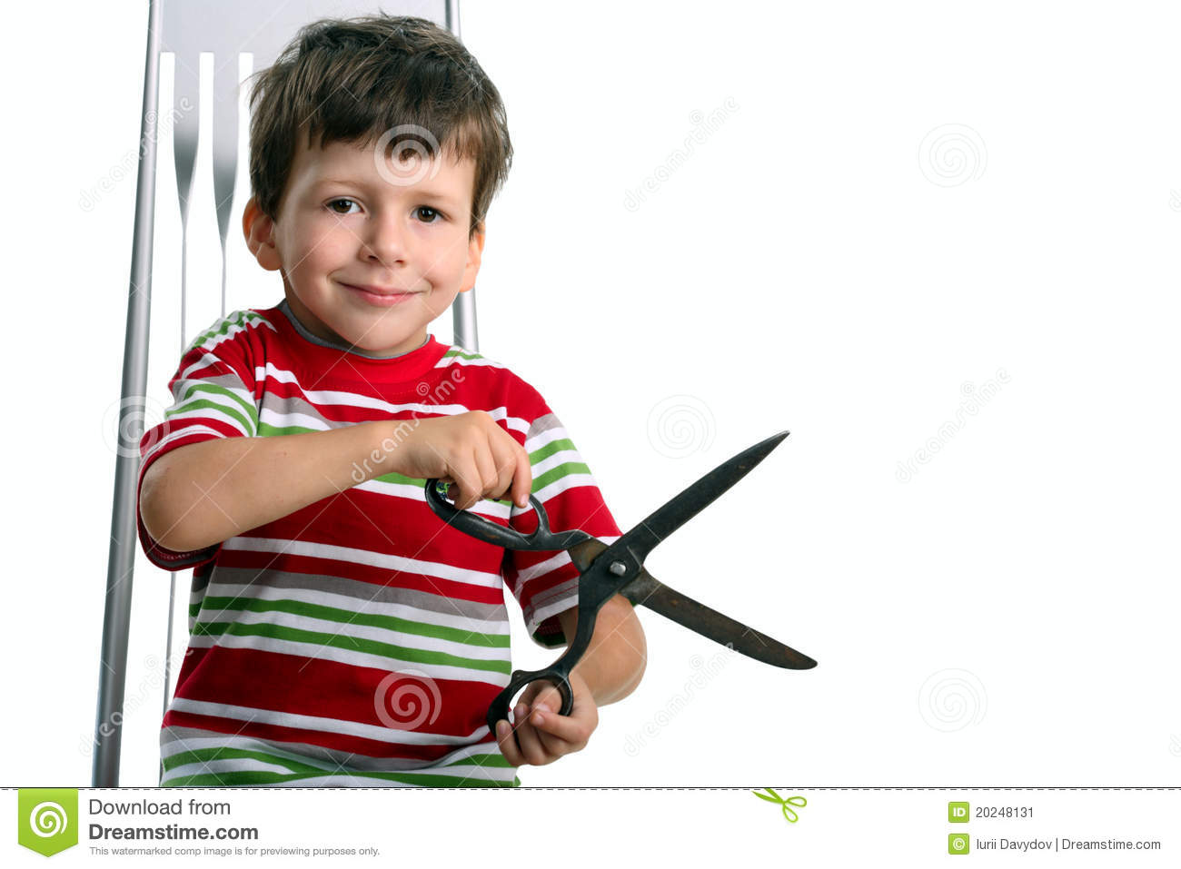 Child With Big Scissors Sit On Chair Stock Image Image