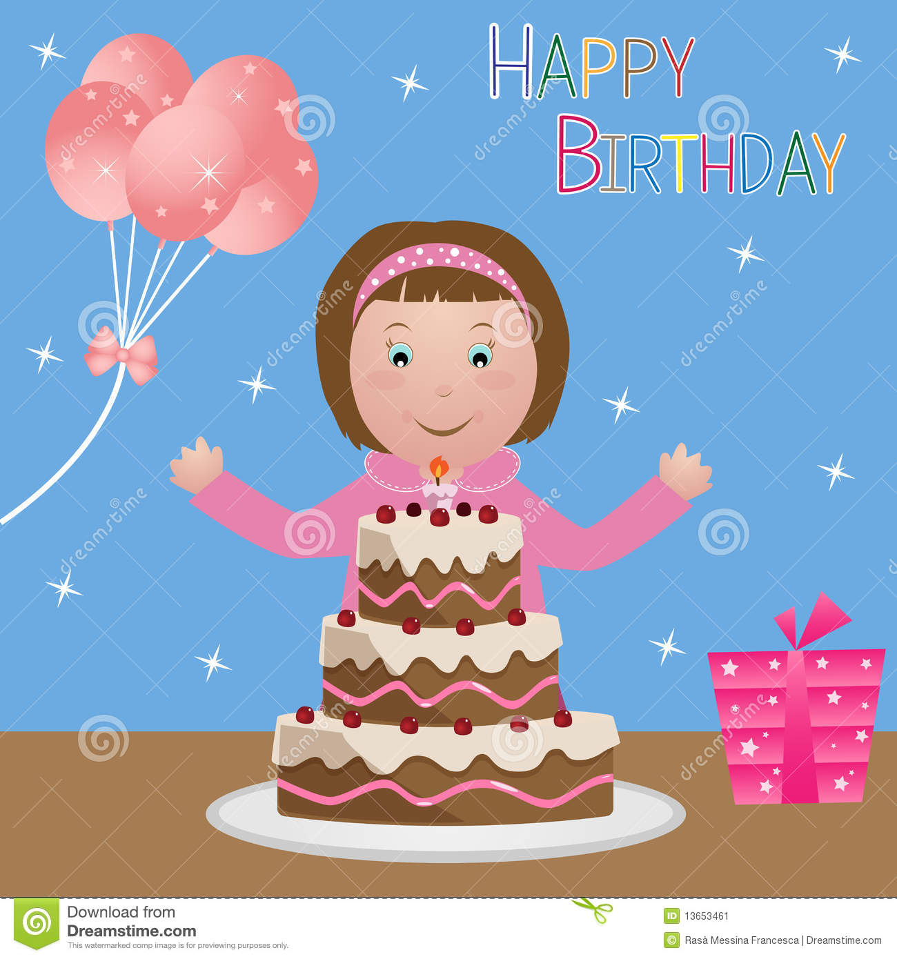 Child With Birthday Cake Girl Stock Image Image 13653461