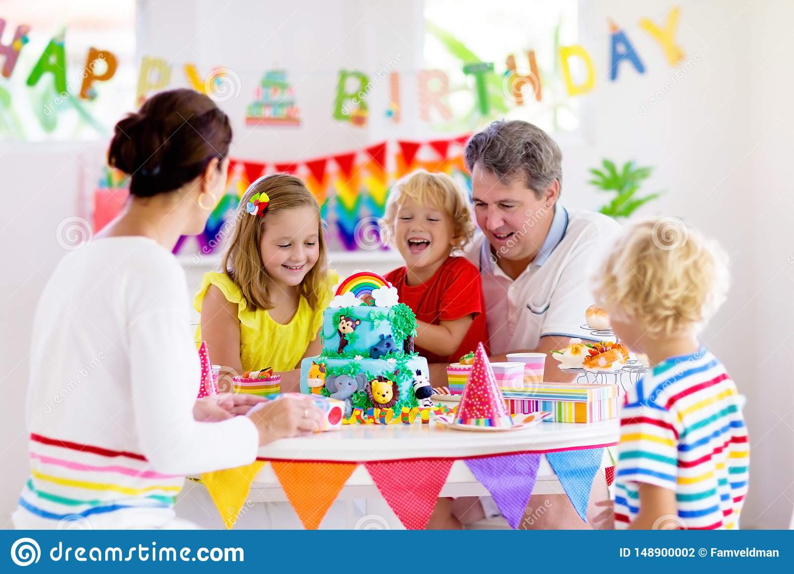 Cool Child Birthday Party Cake Family With Kids Stock Photo Image Of Personalised Birthday Cards Sponlily Jamesorg