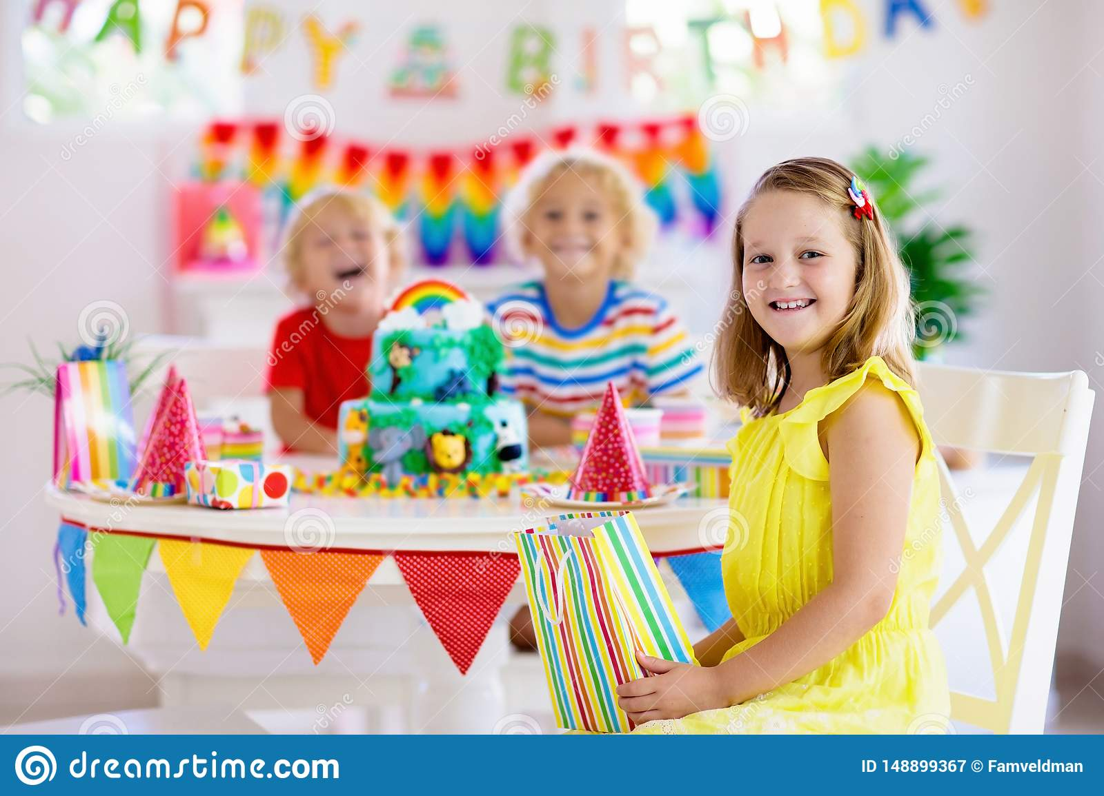 Groovy Child Birthday Party Kids Blow Candle On Cake Stock Image Image Personalised Birthday Cards Sponlily Jamesorg