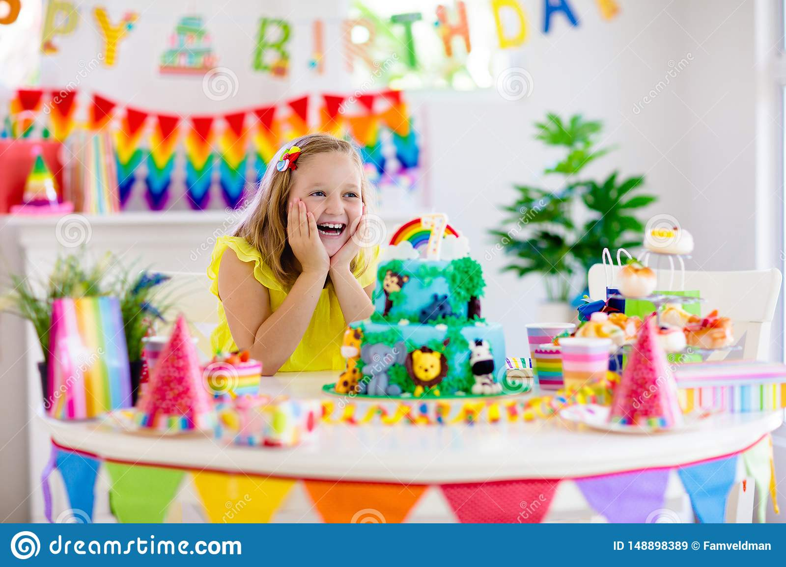 Swell Child Birthday Party Kids Blow Candle On Cake Stock Image Image Birthday Cards Printable Giouspongecafe Filternl