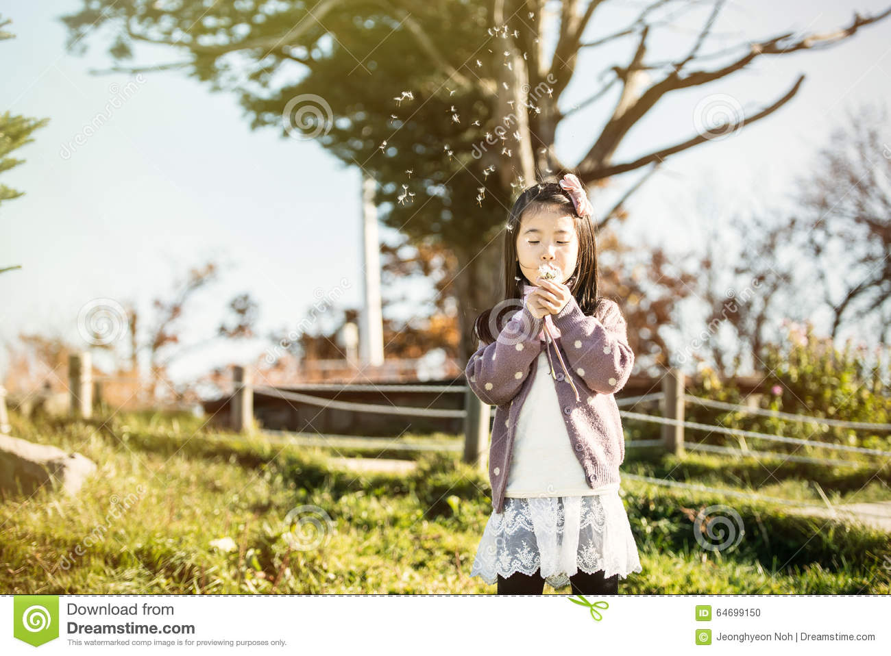 The child blowing a dandelion in a park.