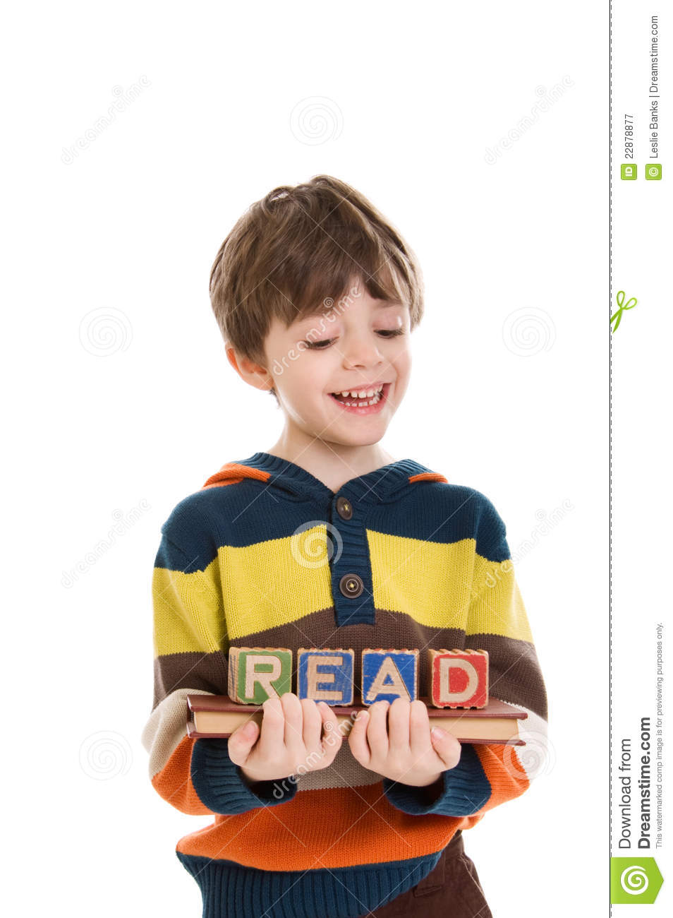 Child with book and blocks