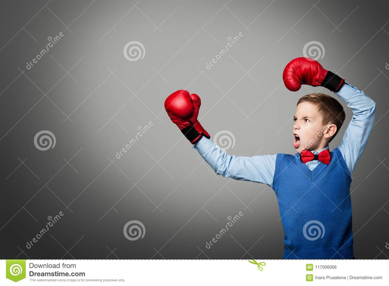 Child in Boxing Gloves, Elegant Kid Boy Boxer Raised Arms Up