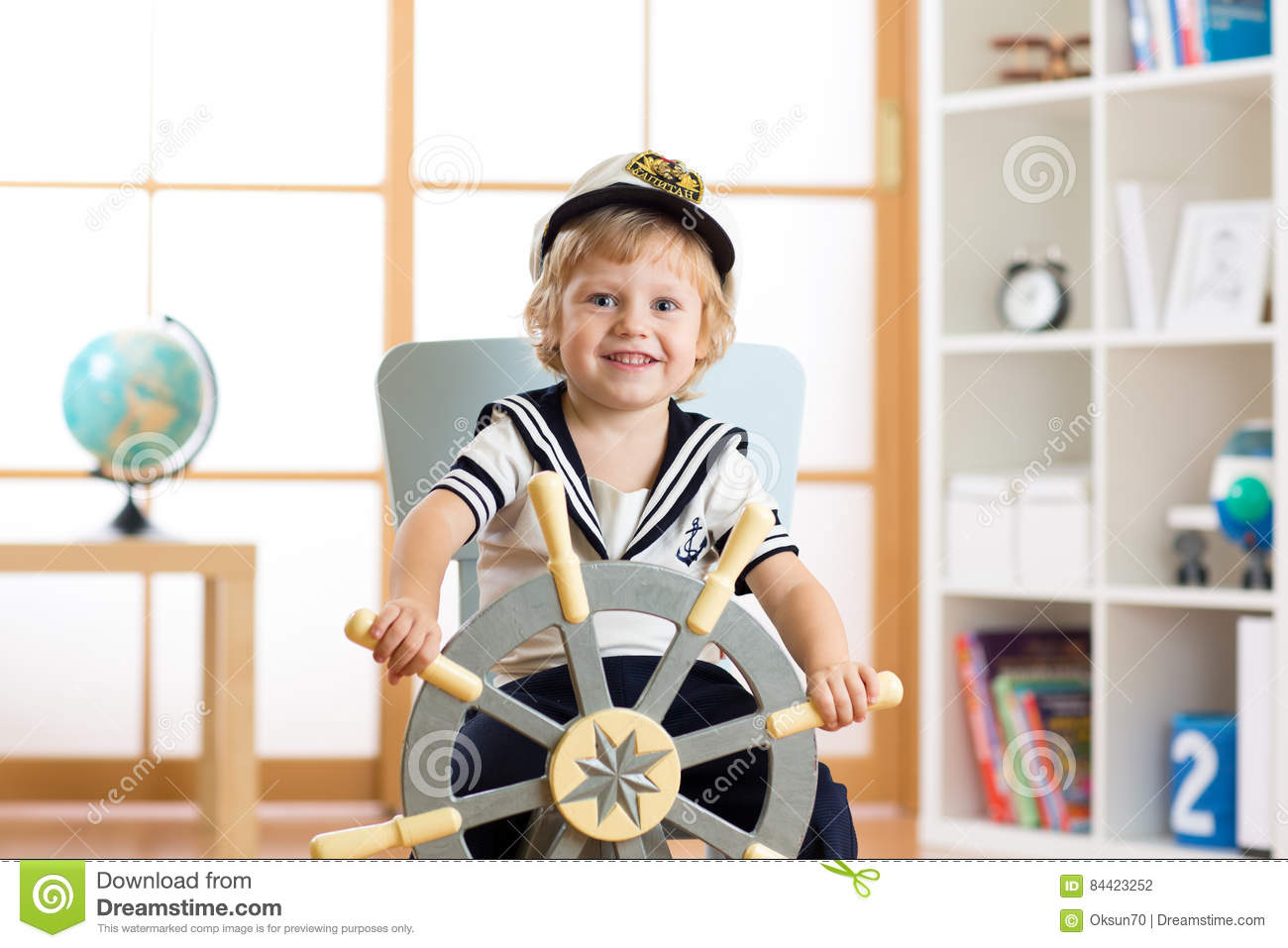 ff6b0a991 Child Boy In Sailor Hat - Adventure And Travel Concept. Stock Photo ...