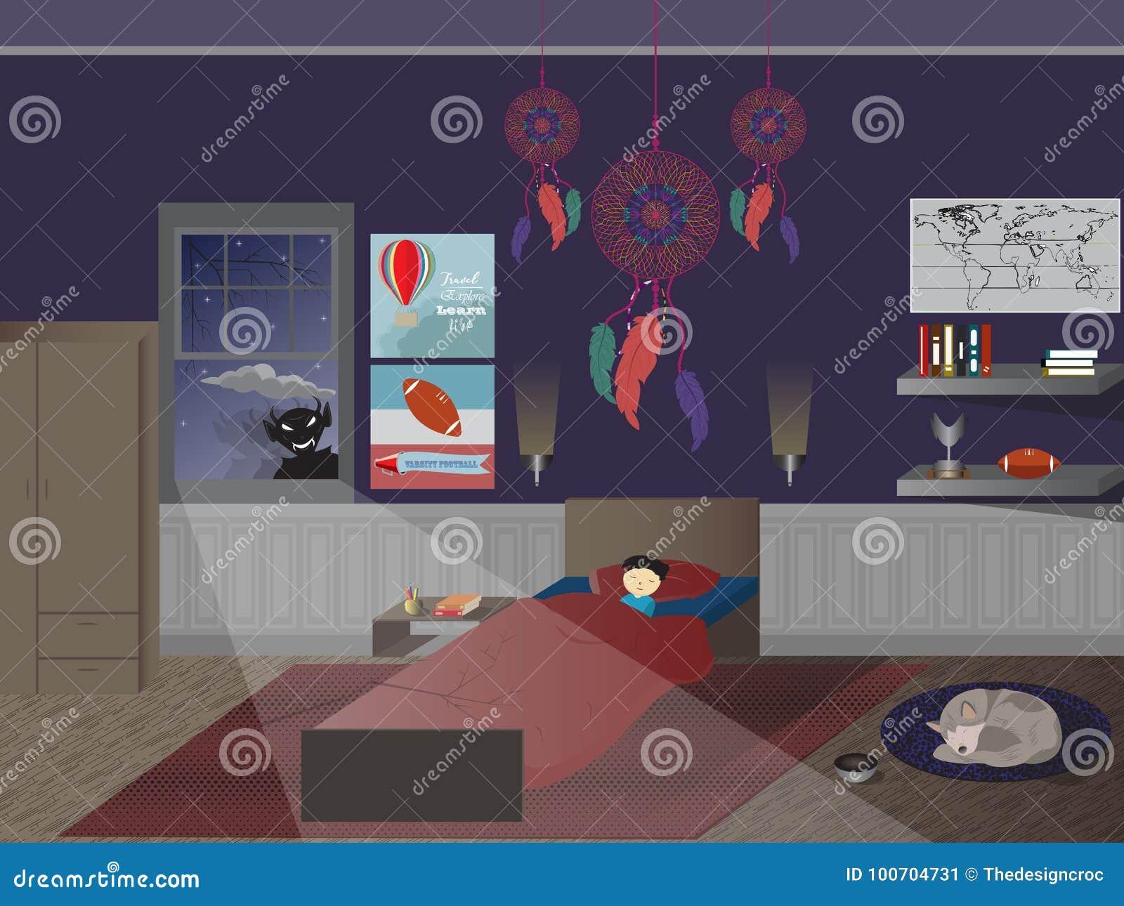 Child boy sleeping bedroom dreamcatcher monster window dog floor
