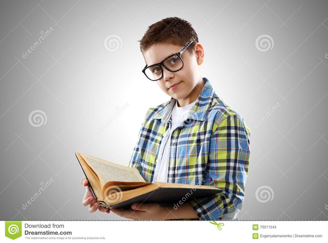 2e360ae6dd Child Boy Teenager With Glasses And Book Stock Image - Image of ...