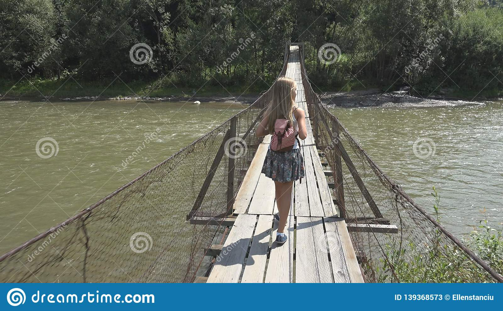 Child on Bridge in Mountains, Kid Hiking in Nature, Girl Looking a River, Stream