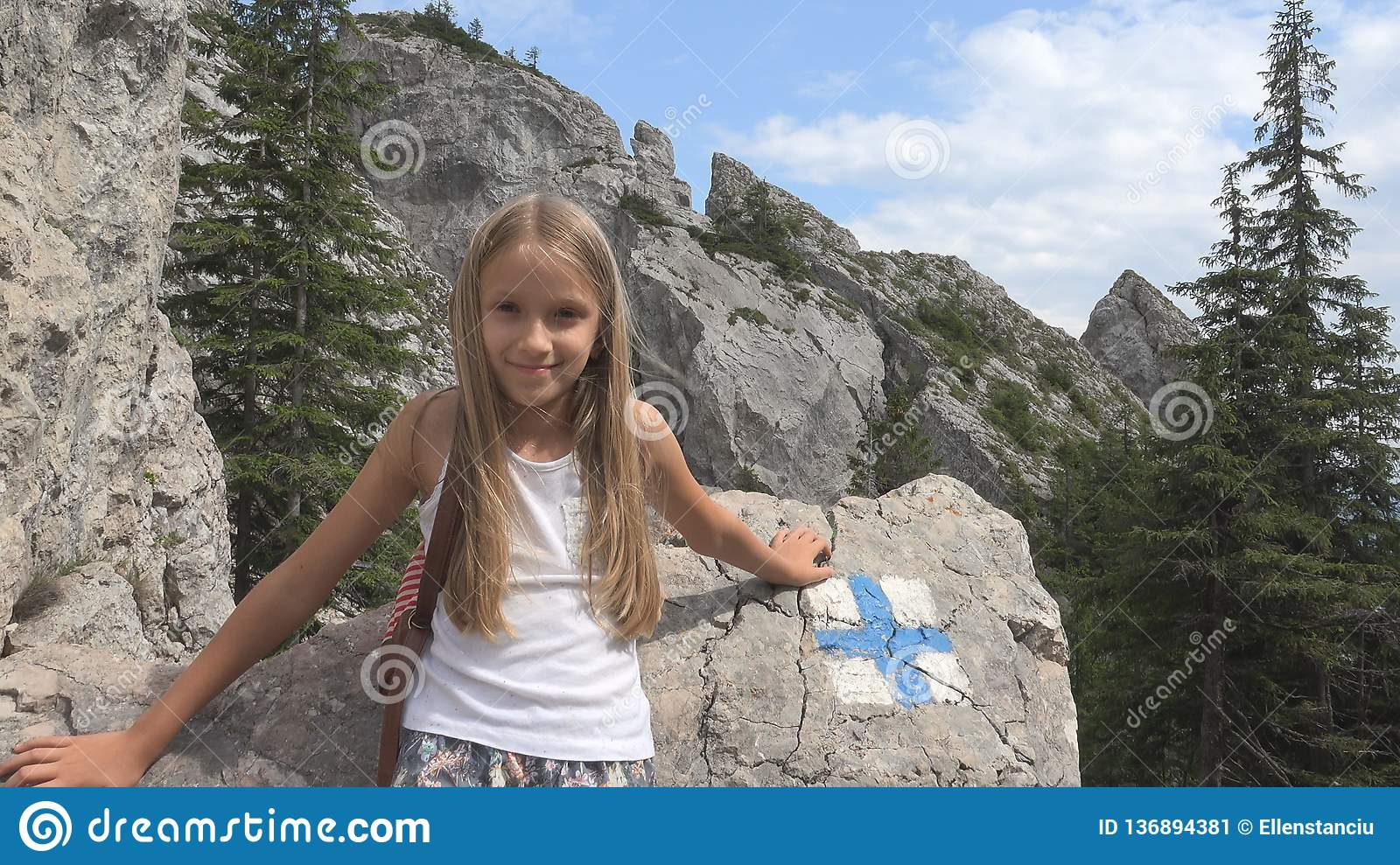Child in Camping, Trail Signs in Mountains, Tourist Girl, Forest Trip Excursion