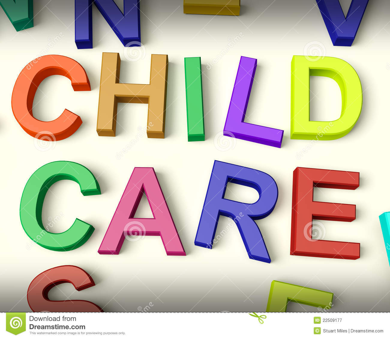 Child Care Written In Multicolored Kids Letters Royalty Free Stock ...