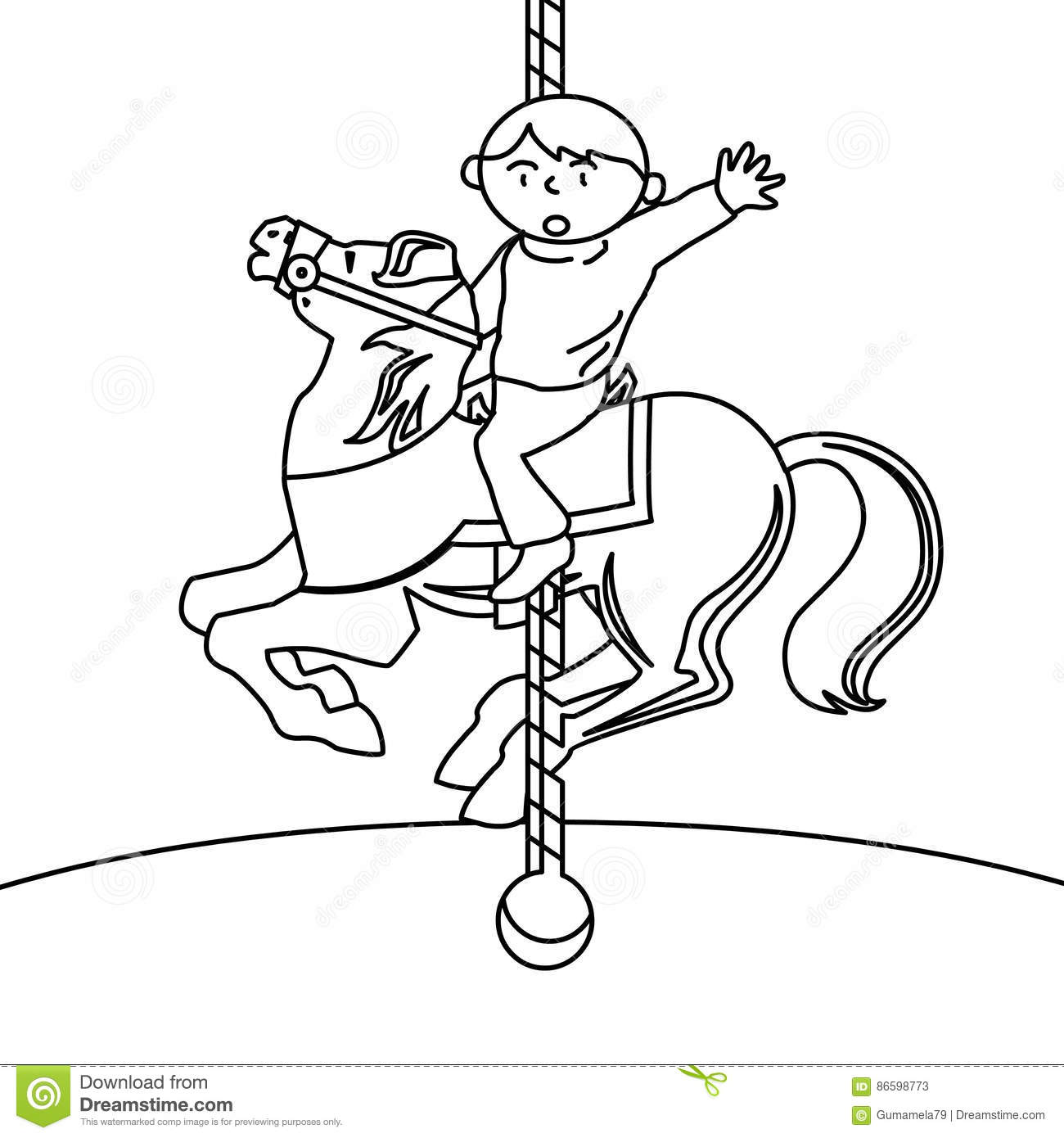Child In A Carousel Coloring Page Stock Illustration Illustration Of Education Balloon 86598773