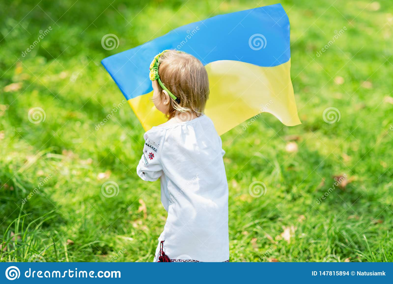 Child carries fluttering blue and yellow flag of Ukraine in field. Ukraine`s Independence Day. Flag Day. Constitution day. Girl i