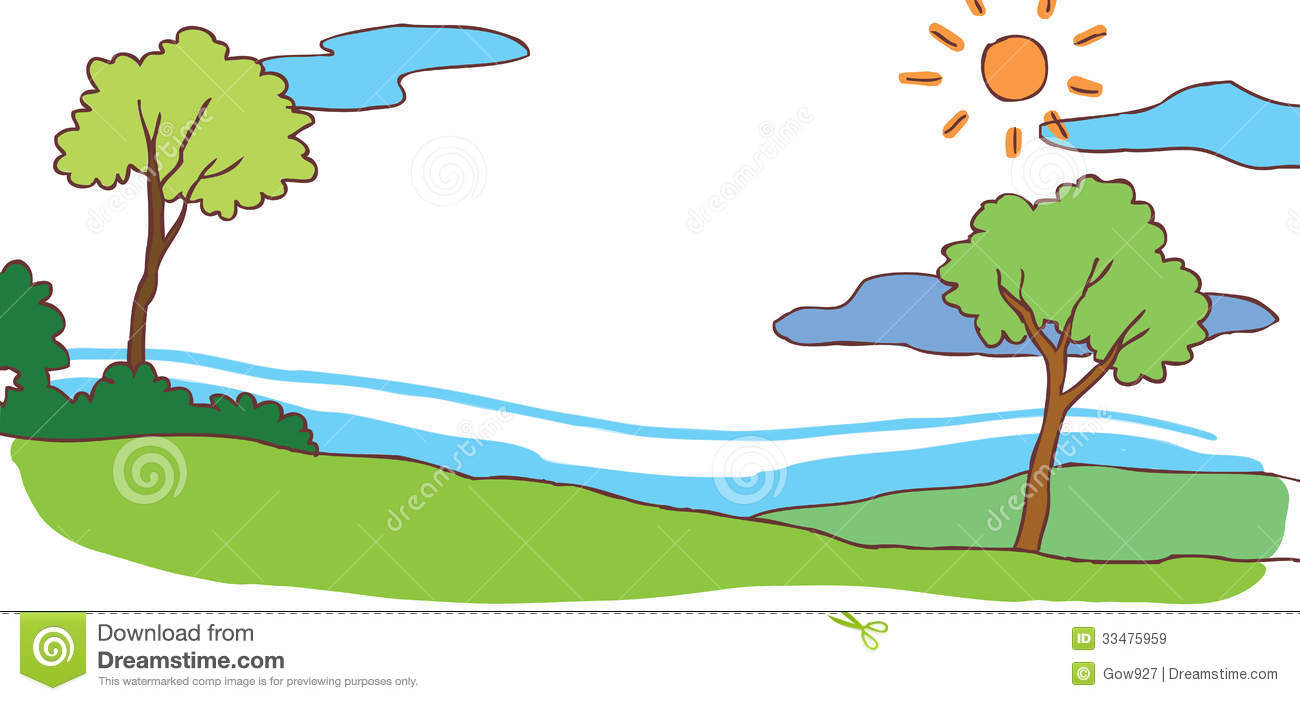 Child Cartoon Summer Hill Landscape Background (ve Royalty Free Stock ...