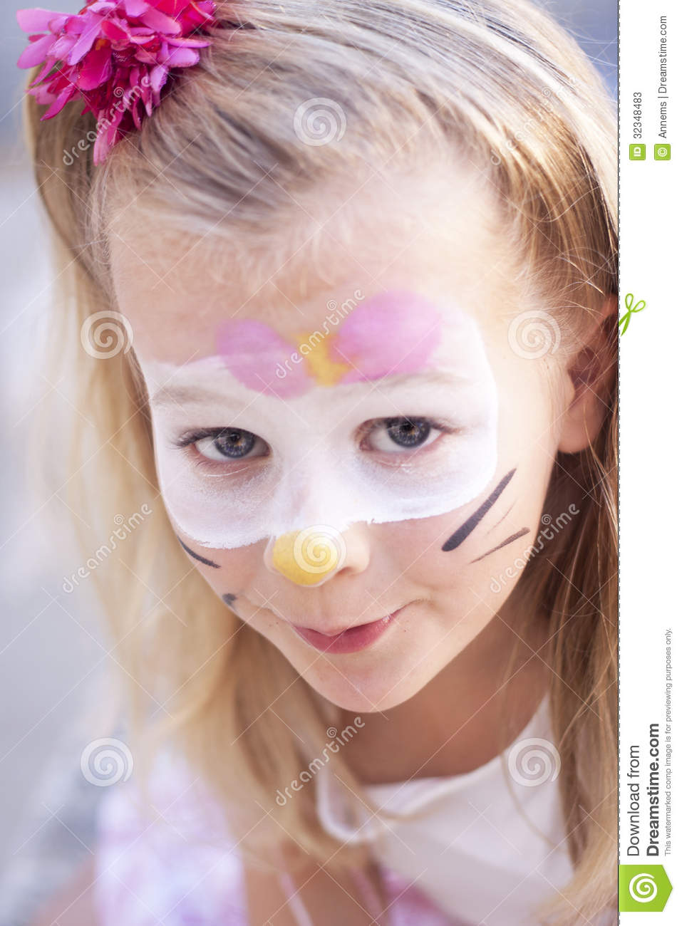 Paint Cat Face Little Girl