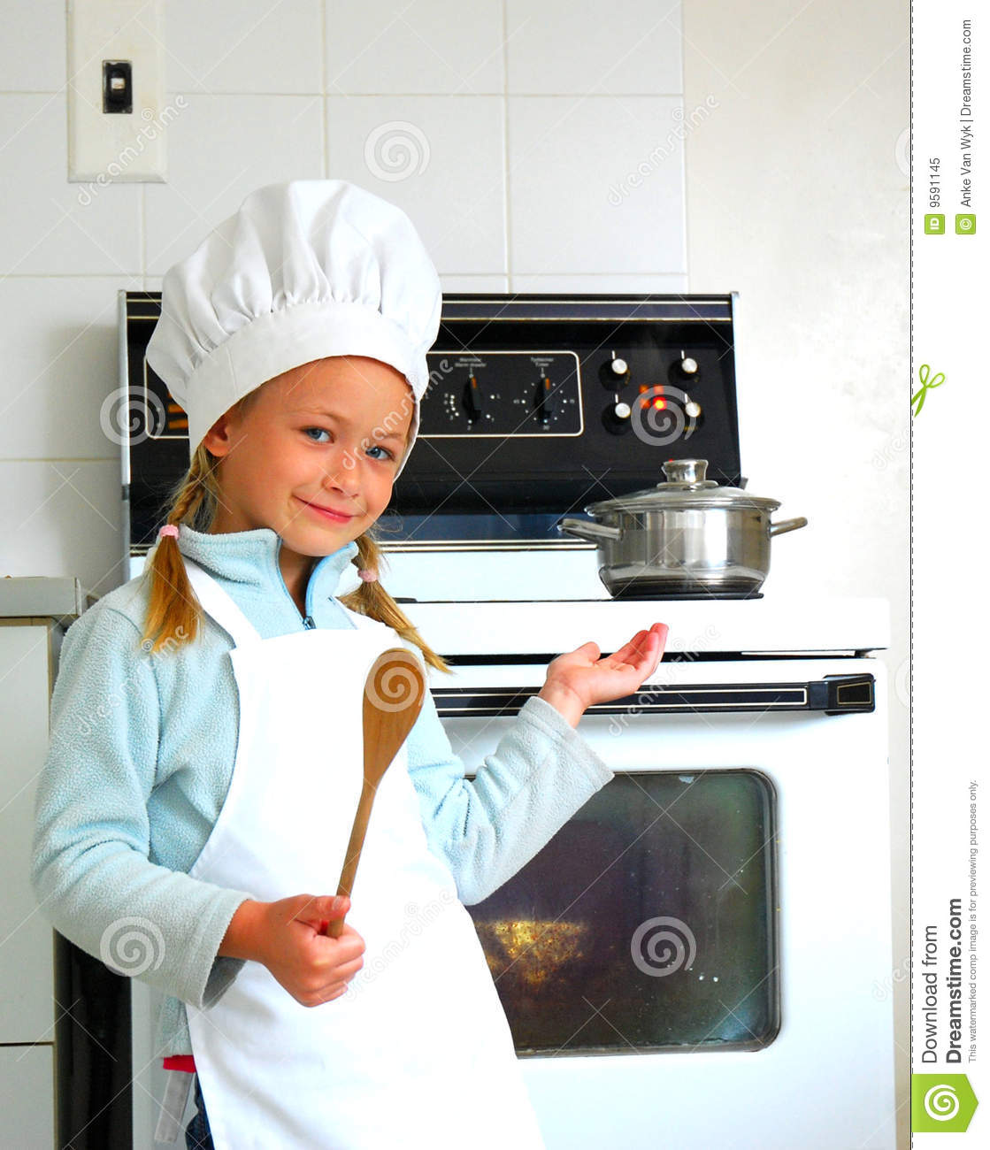 Child chef cooking