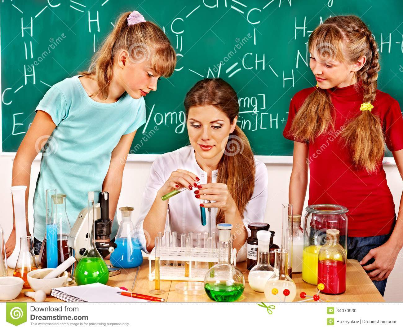 child in chemistry class  stock photo  image of board