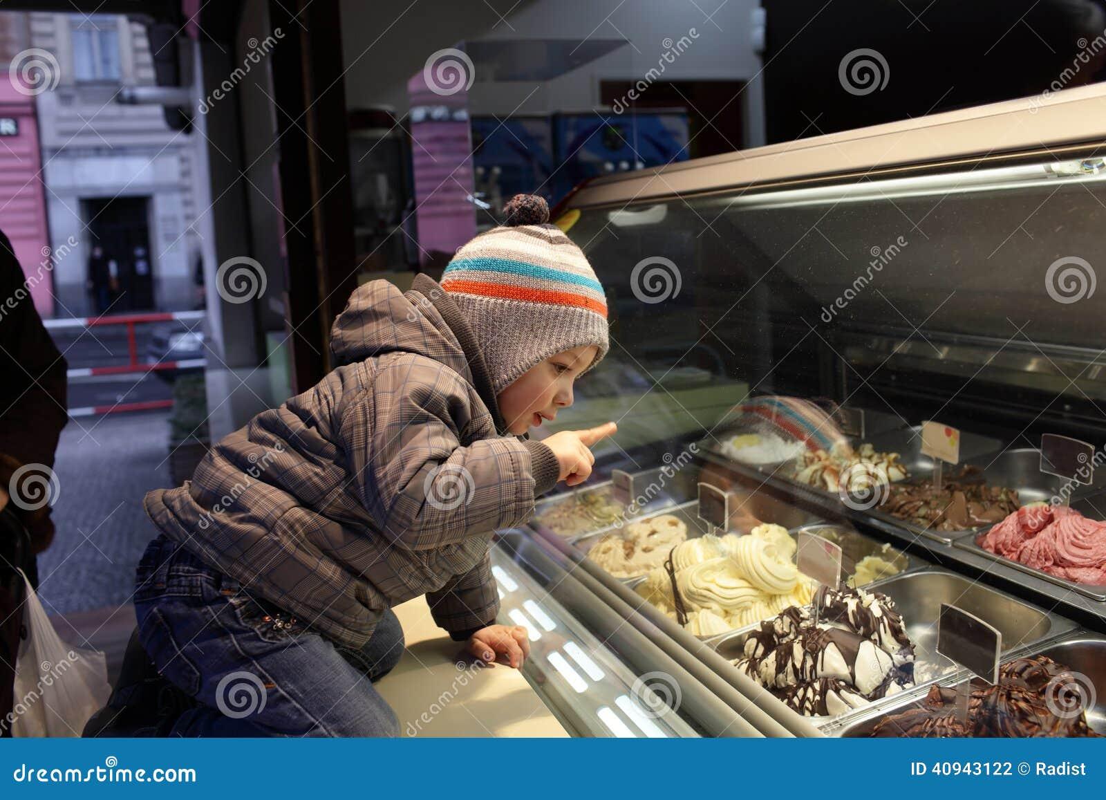 child choosing ice cream stock photo image 40943122