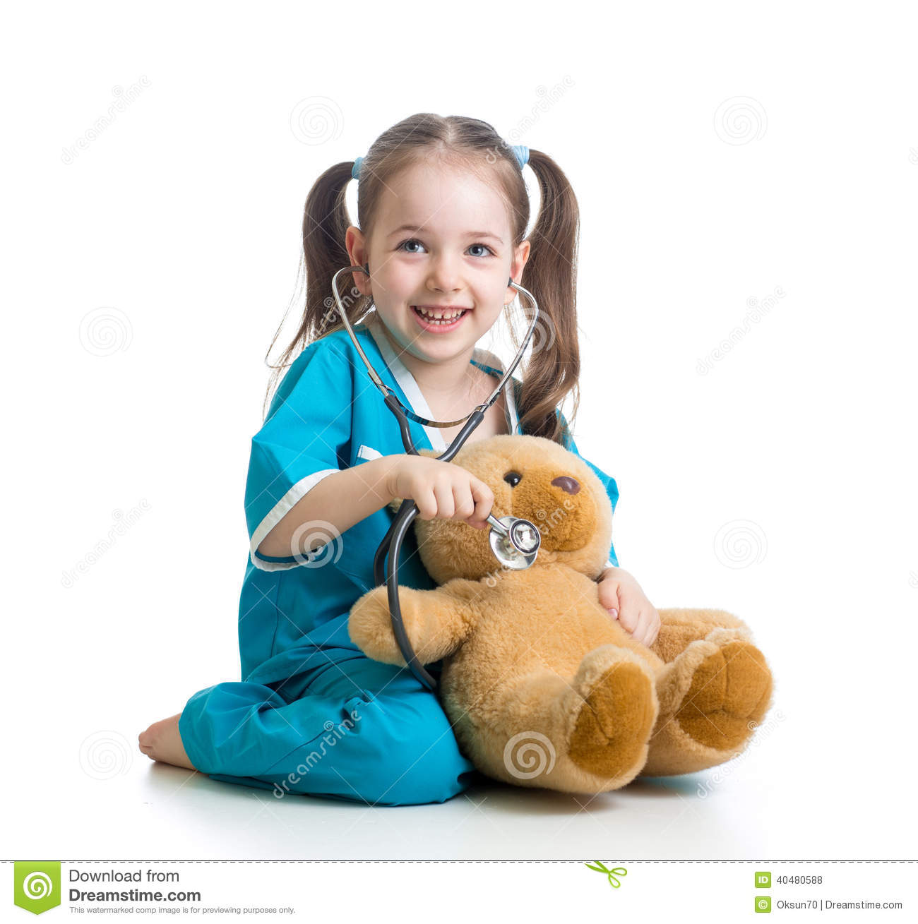 child with clothes of doctor examining teddy bear stock photo image 40480588. Black Bedroom Furniture Sets. Home Design Ideas