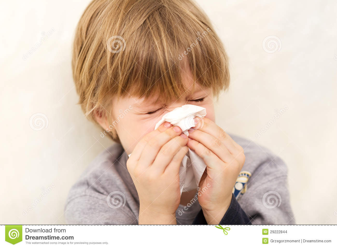 Child Cold Flu Illness Tissue Blowing Runny Nose Stock ...
