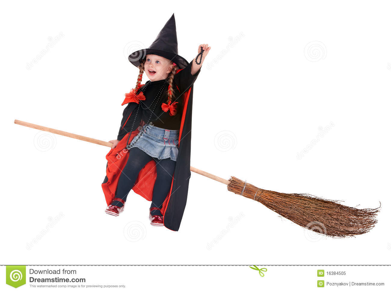 Child In Costume Halloween Witch Fly On Broom. Royalty Free Stock ...