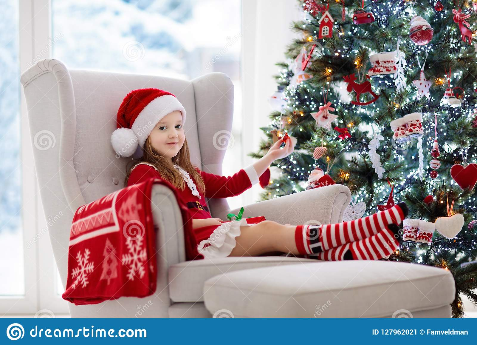 Kids At Christmas Tree. Children Open Presents Stock Image - Image ...
