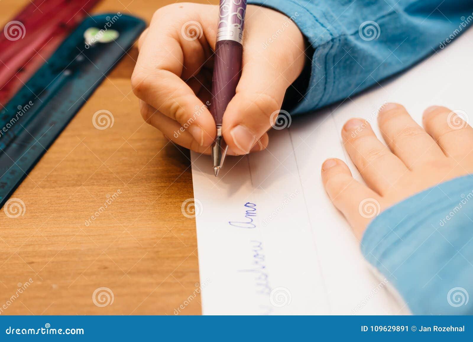 Cute Young Teenage Girl Doing Homework Project Stock Photo