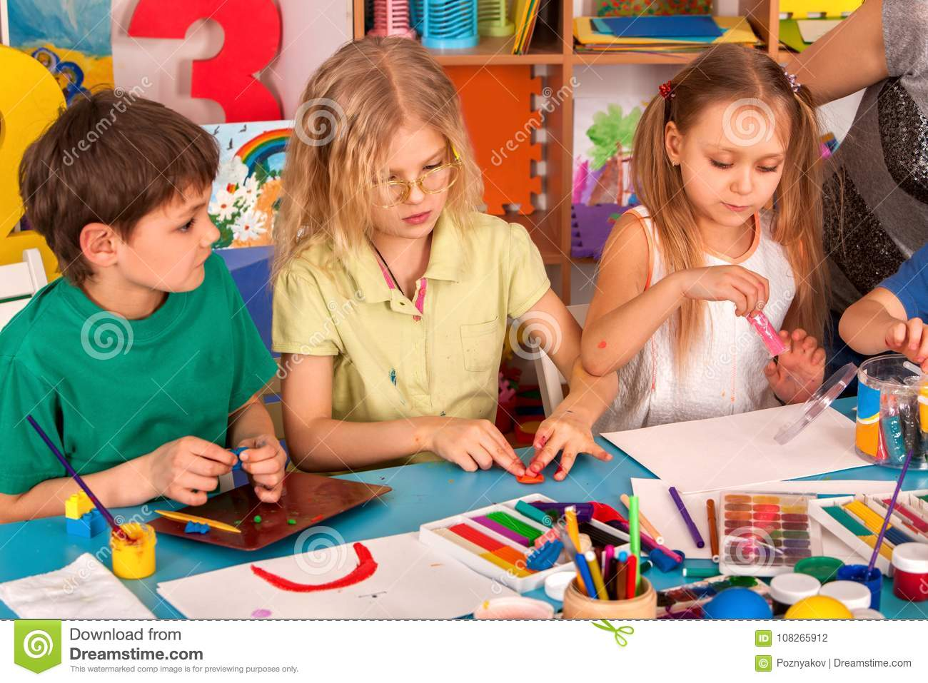 Download Child Dough Play In School. Plasticine For Children. Stock Photo - Image of dough, picture: 108265912