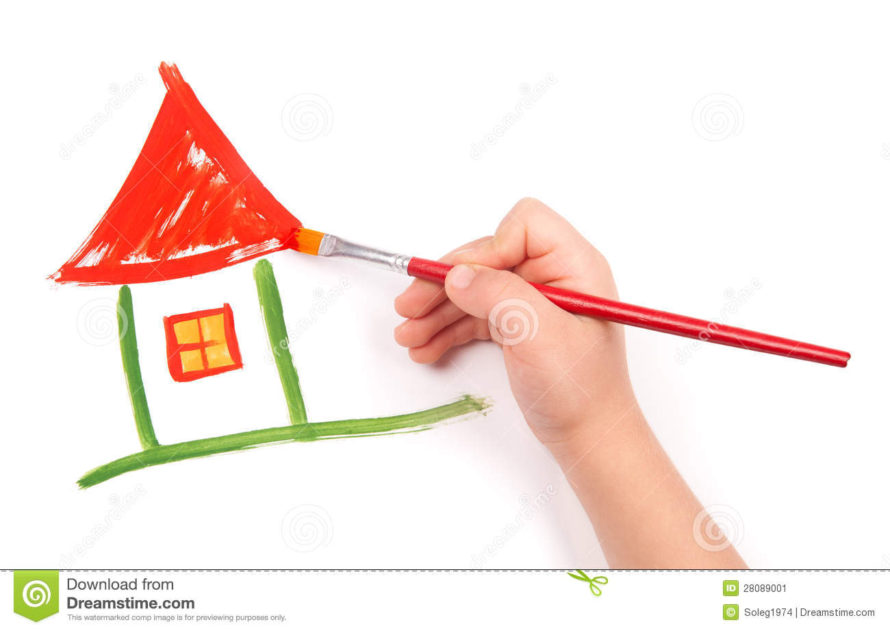 Free House Plans For Students Child Draw A Home Stock Image Image 28089001