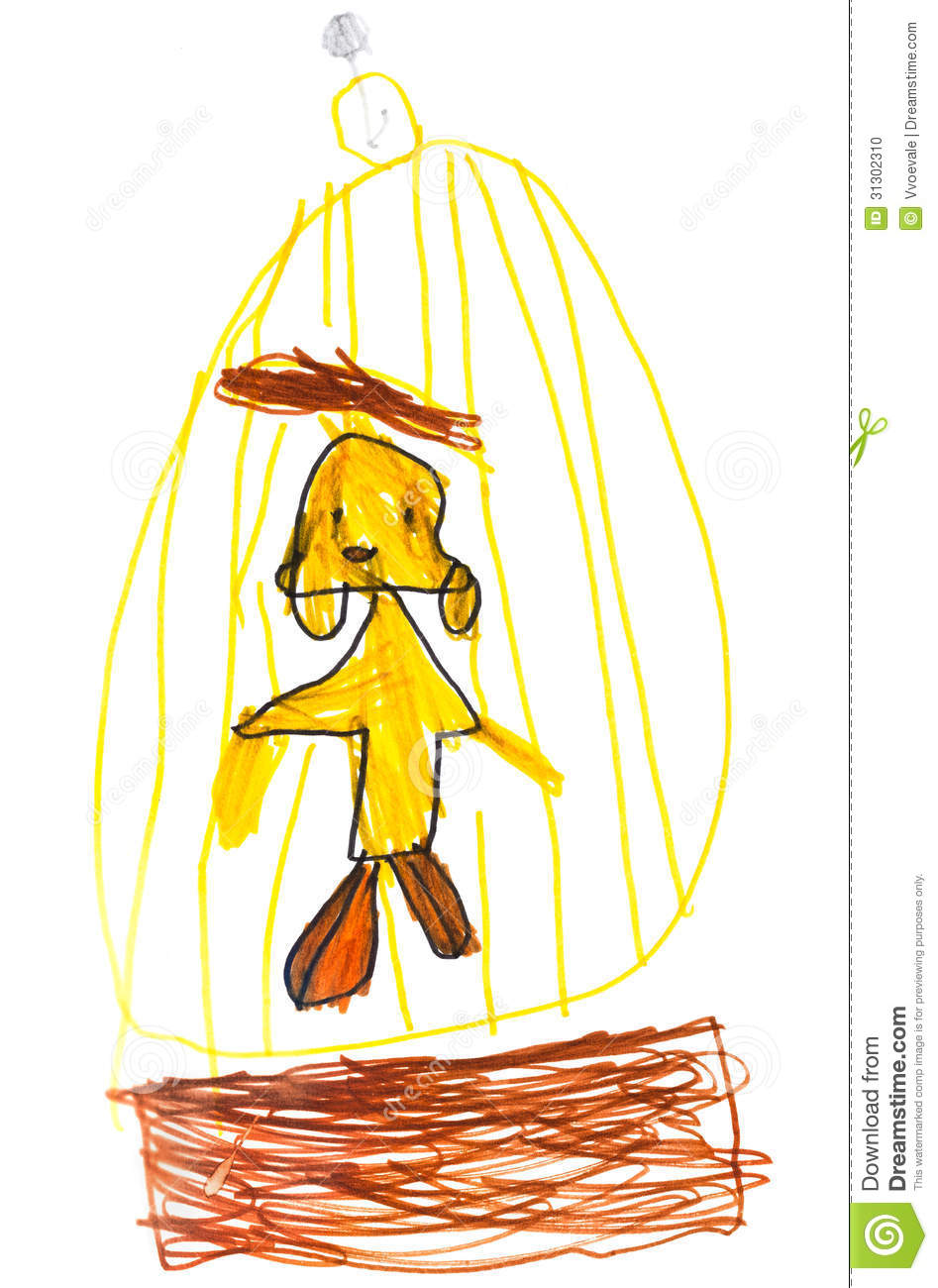Child Drawing Bird In Cage Stock Photo Image 31302310