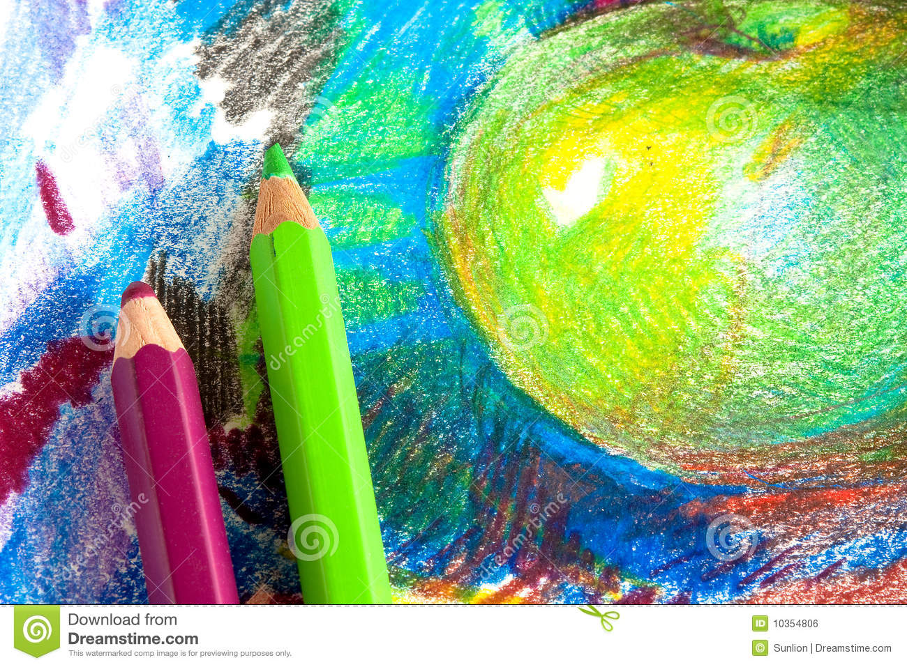 Child Drawing By Colored Pencils Stock Photo - Image of ...