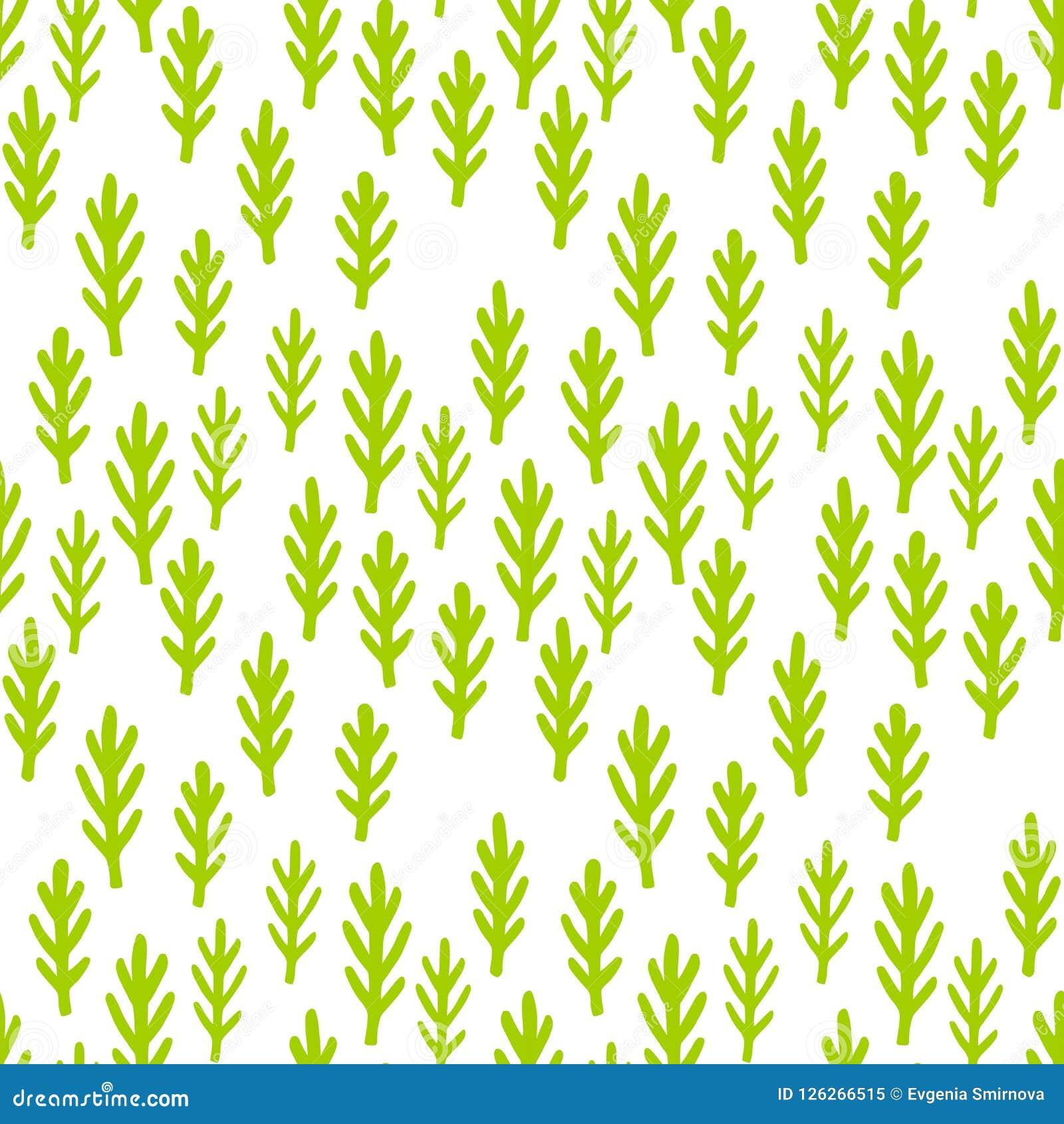 Child Drawing Cute Plants Grass Seamless Pattern Green
