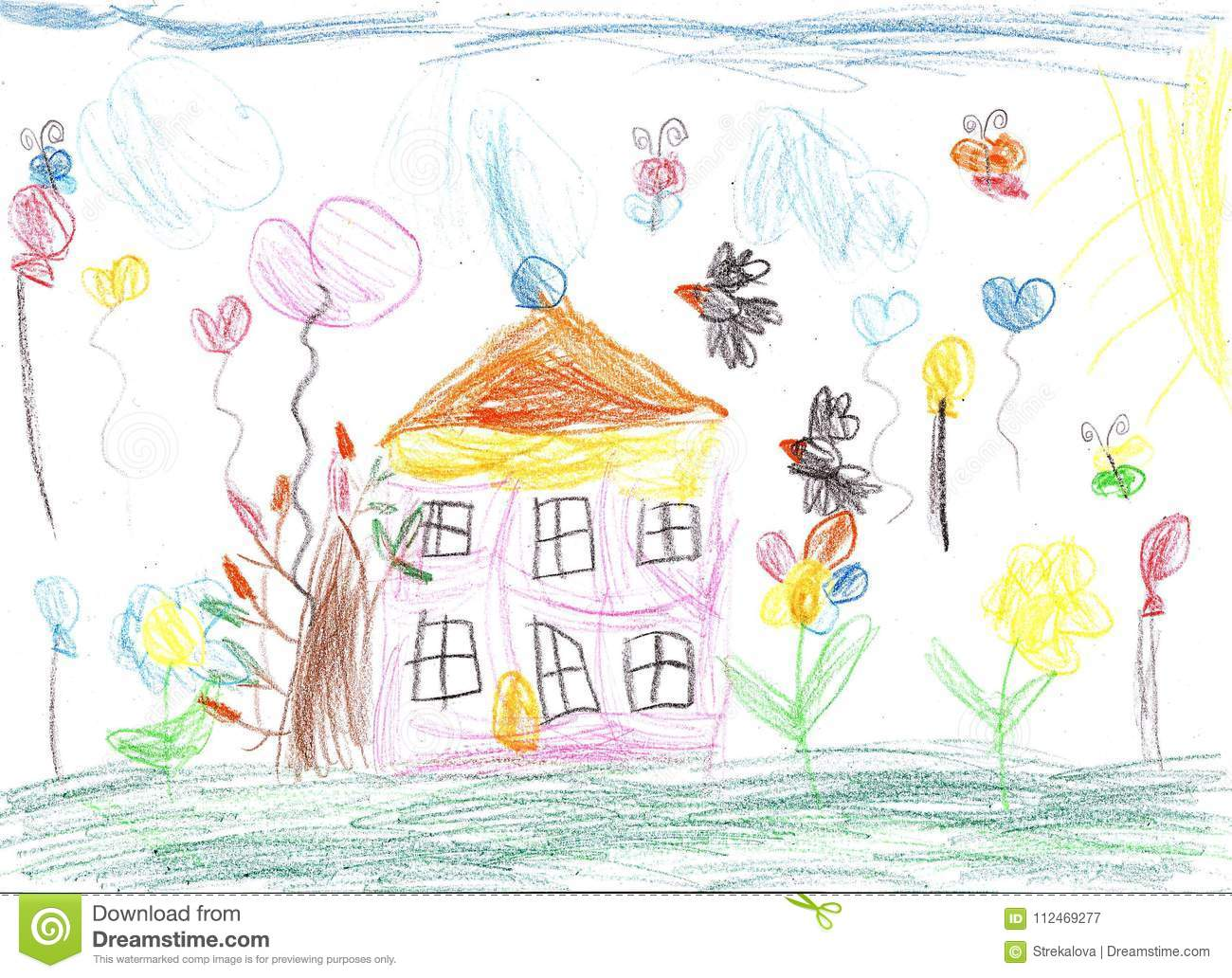 Child drawing family house nature in summer