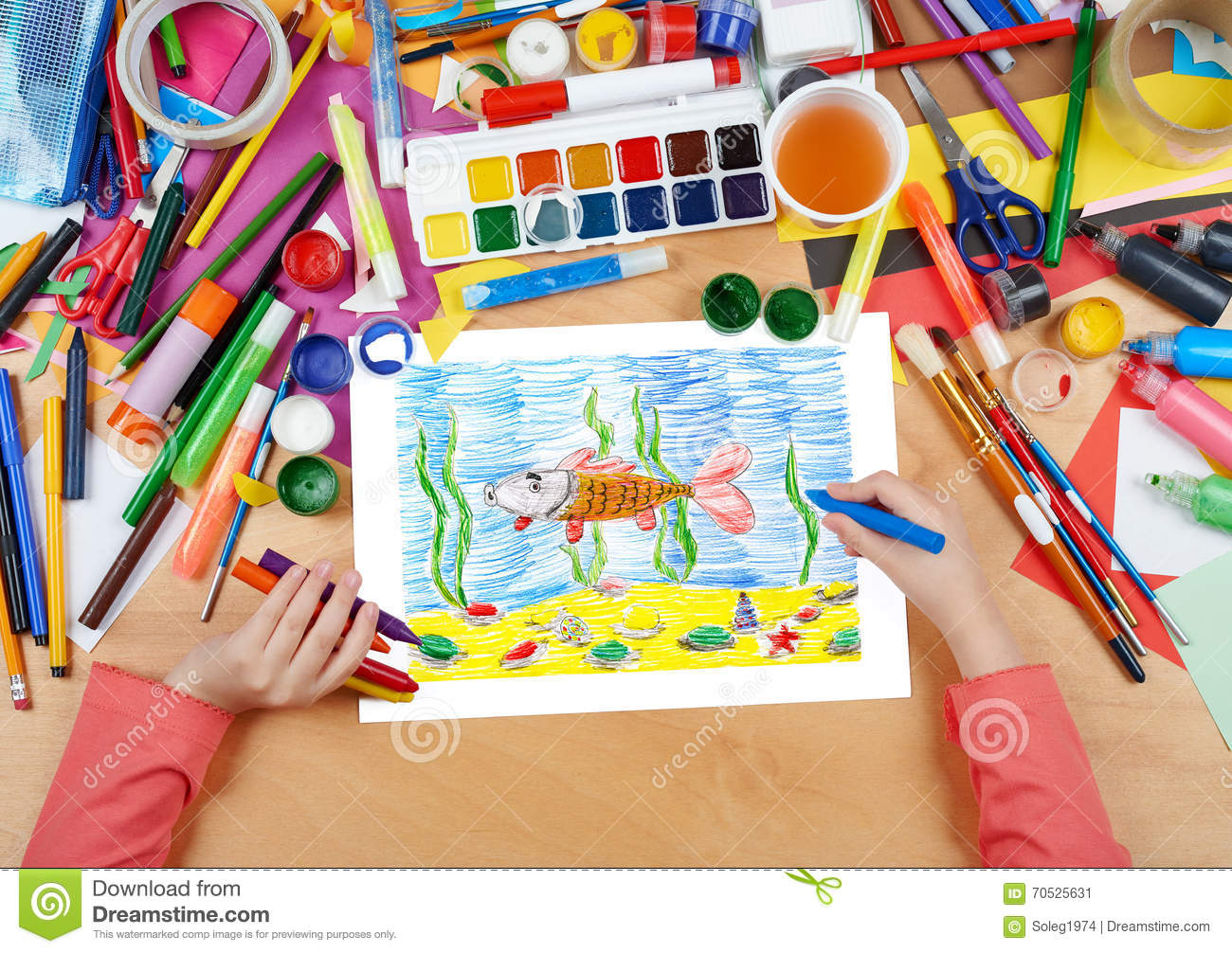 Child Drawing Fish Underwater And Seabed, Top View Hands ...