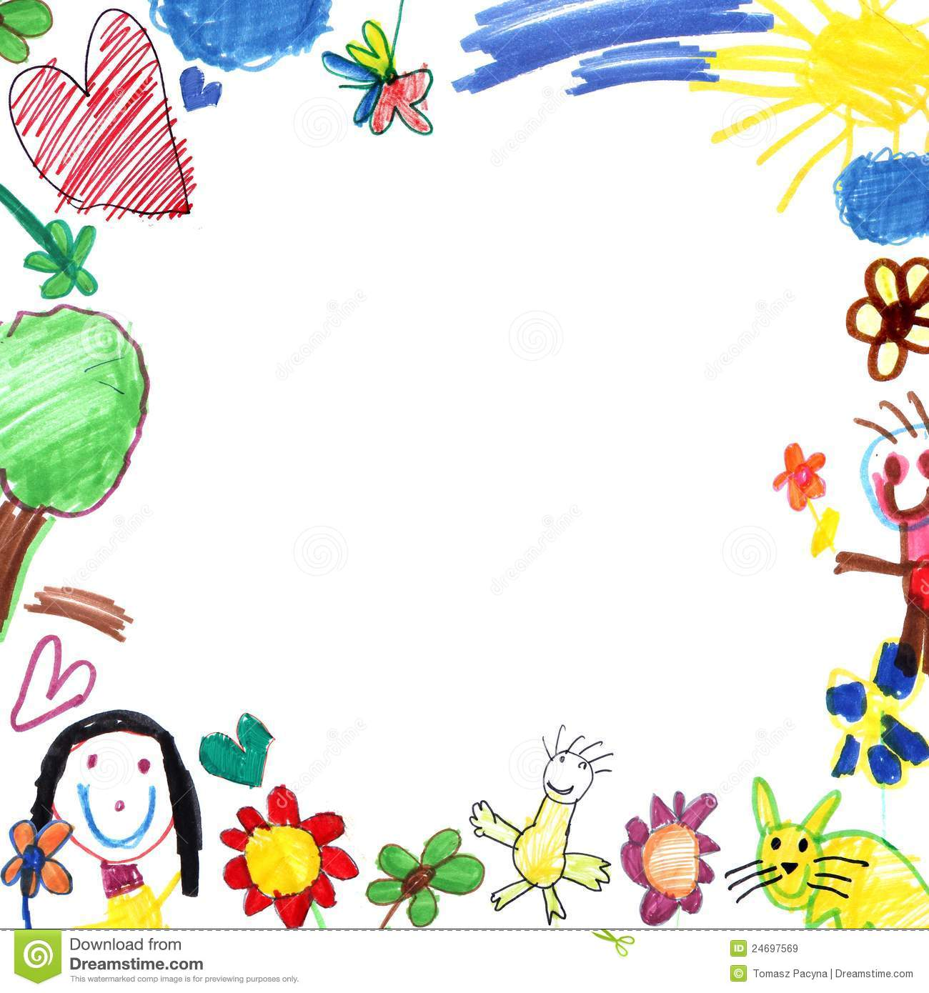 Child Drawing Frame White Royalty Free Stock Images