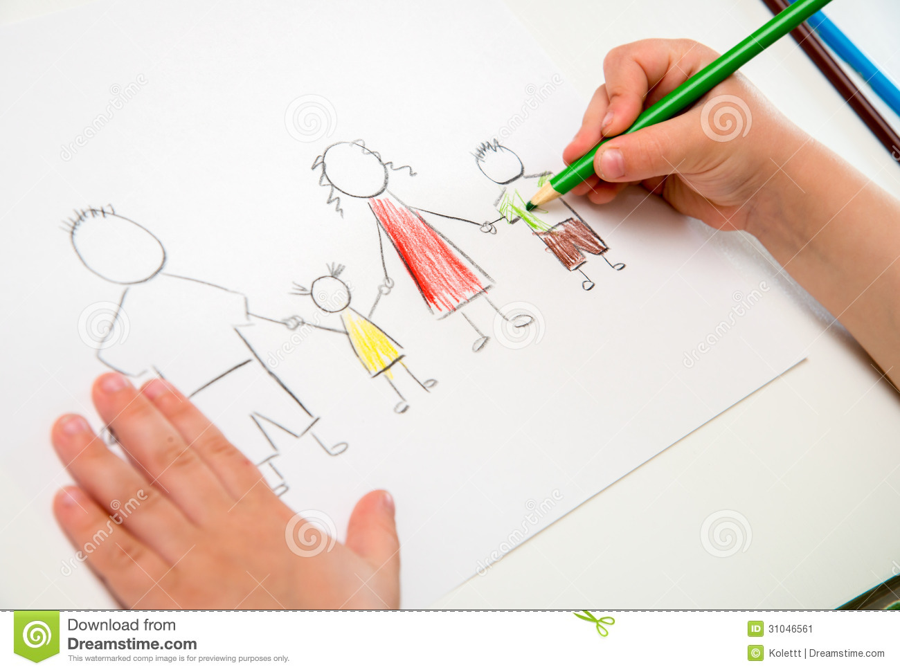 child drawing happy family metaphor for full family and
