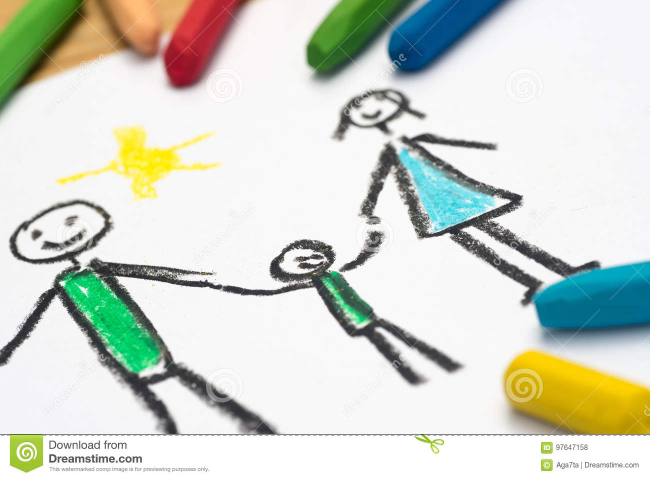 Child drawing, happy family , selective focus