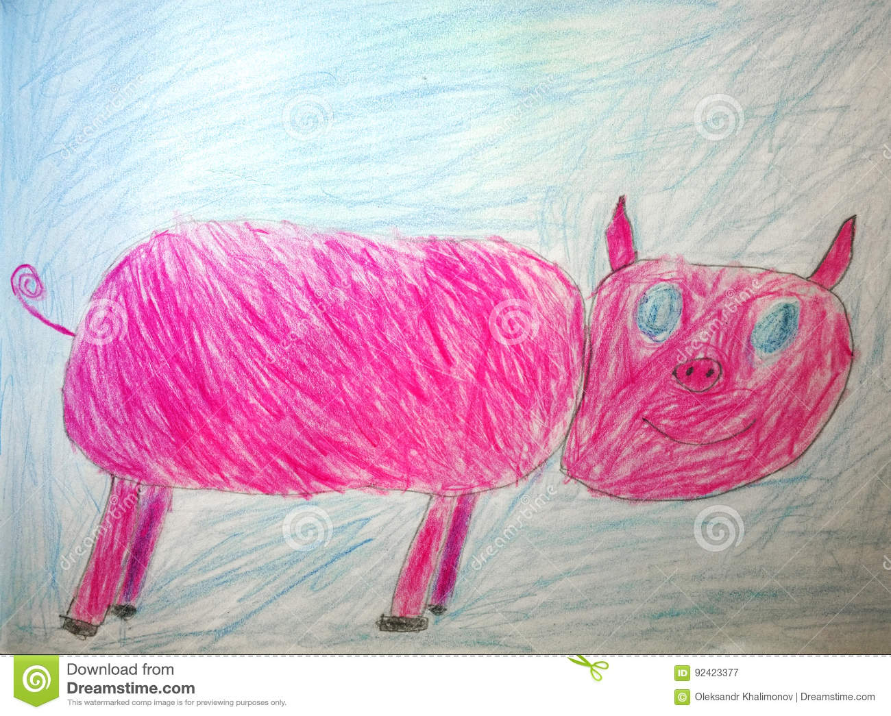 Childrens pencil drawing of a pink pig on a blue background