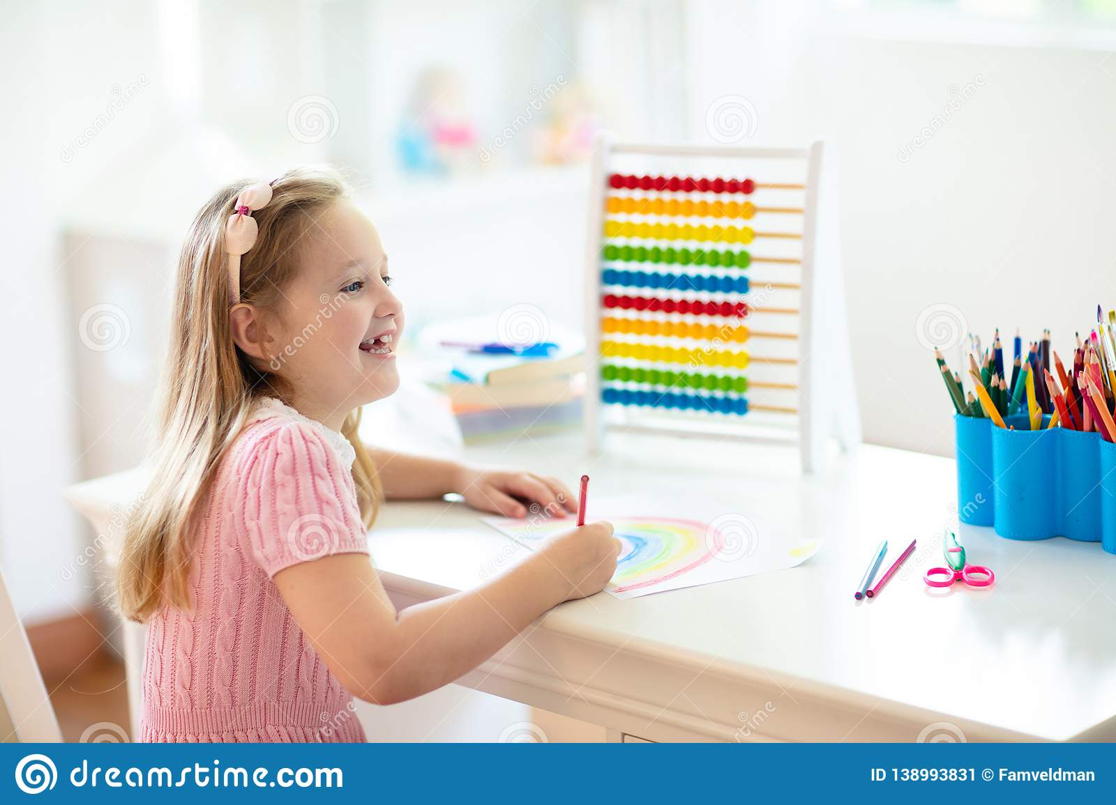 Child Drawing. Kids Paint. Girl After School Stock Image ...