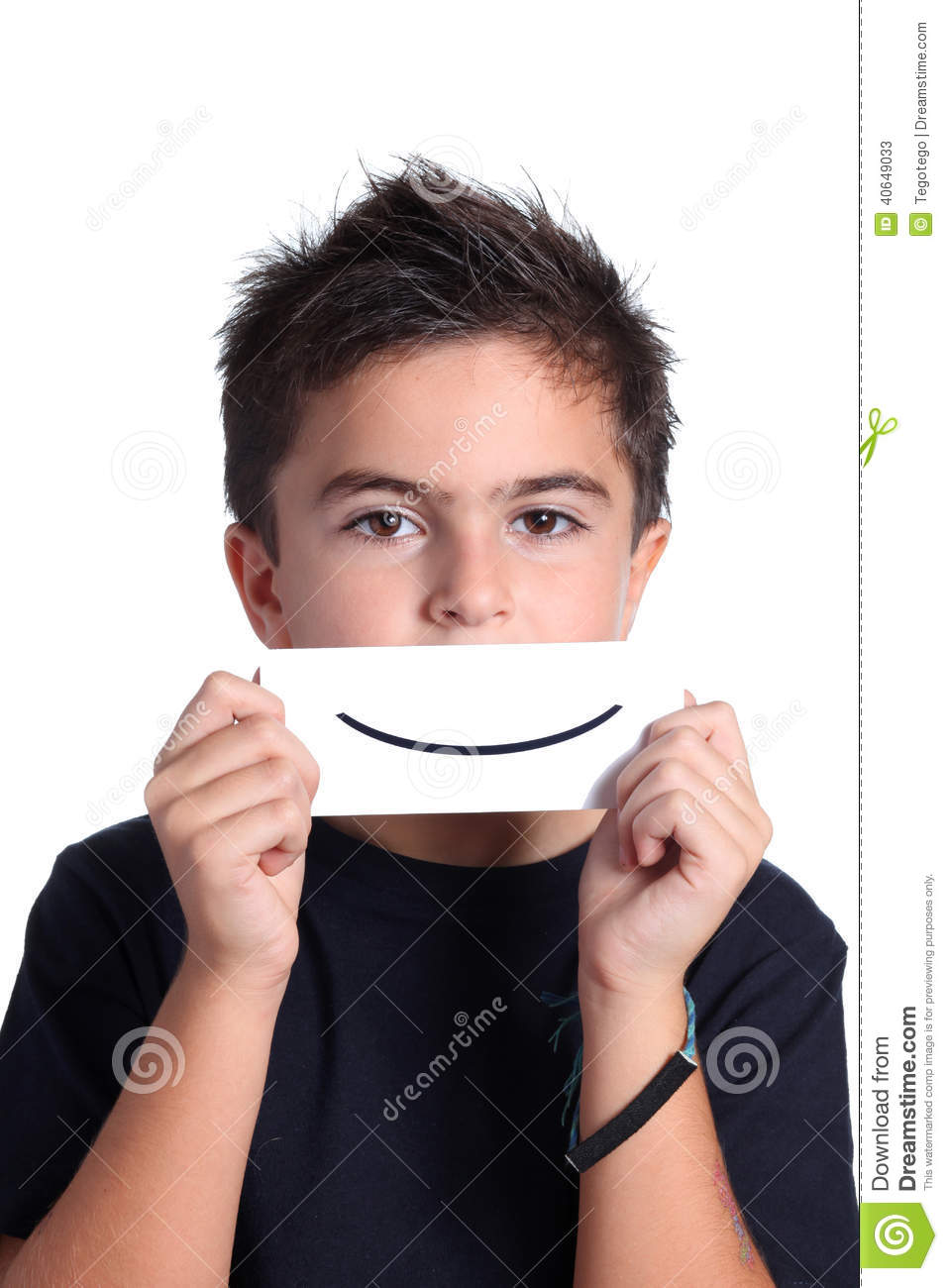 Child with drawing smile