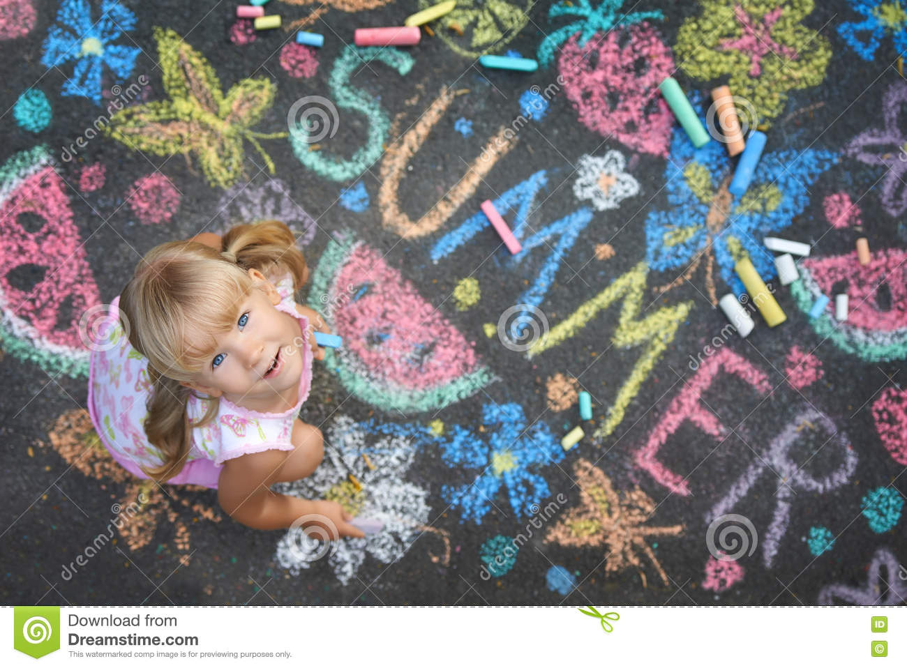 Download Child Drawing Summer Spirit On Asphalt Stock Photo - Image of artist, children: 75815064