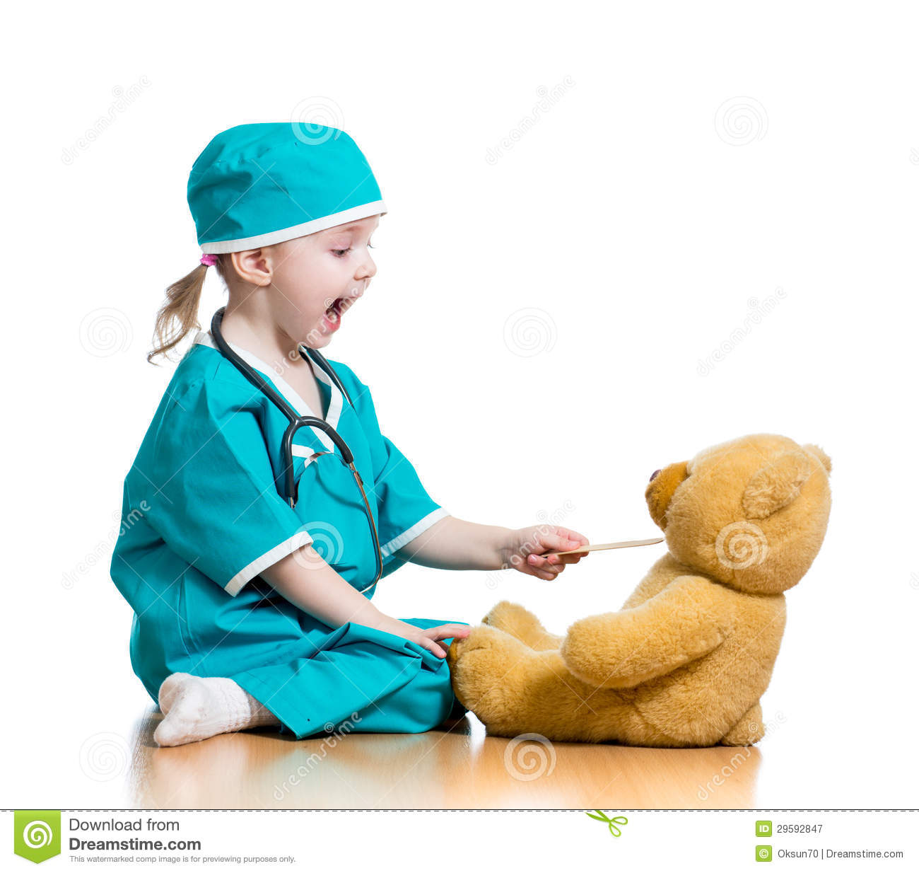Adorable Little Girl Playing With Beach Toys During: Child Dressed As Doctor Playing With Toy Stock Image