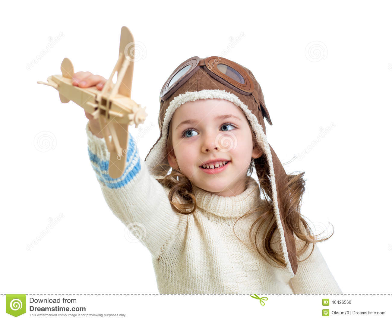 Child Dressed As Pilot And Playing With Wooden Airplane ...