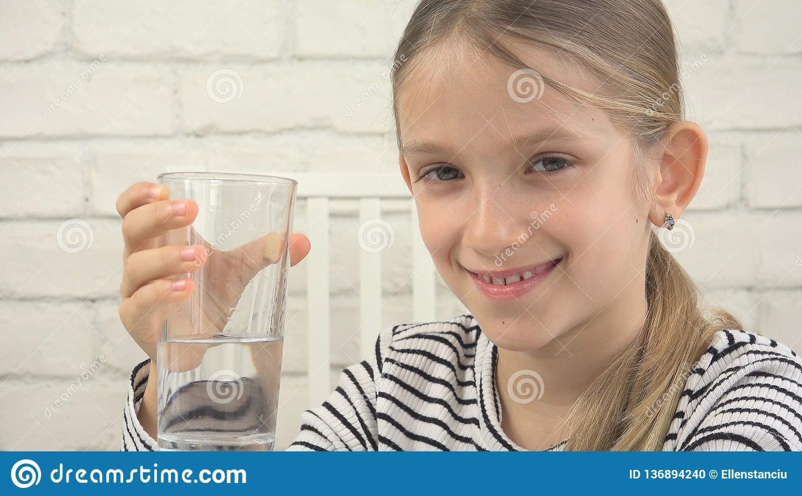 Child Drinking Water, Thirsty Kid Studying Glass of Fresh Water, Girl in Kitchen