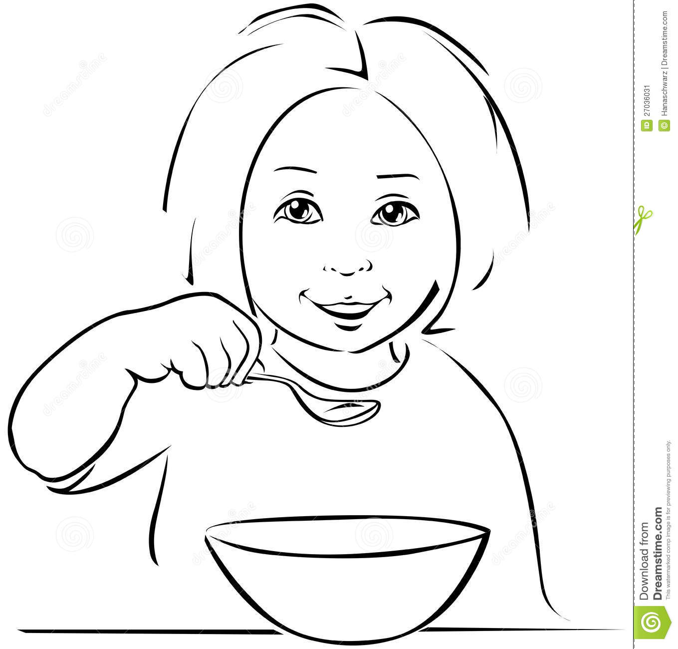 Child eating black outline stock vector illustration for Esky coloring pages