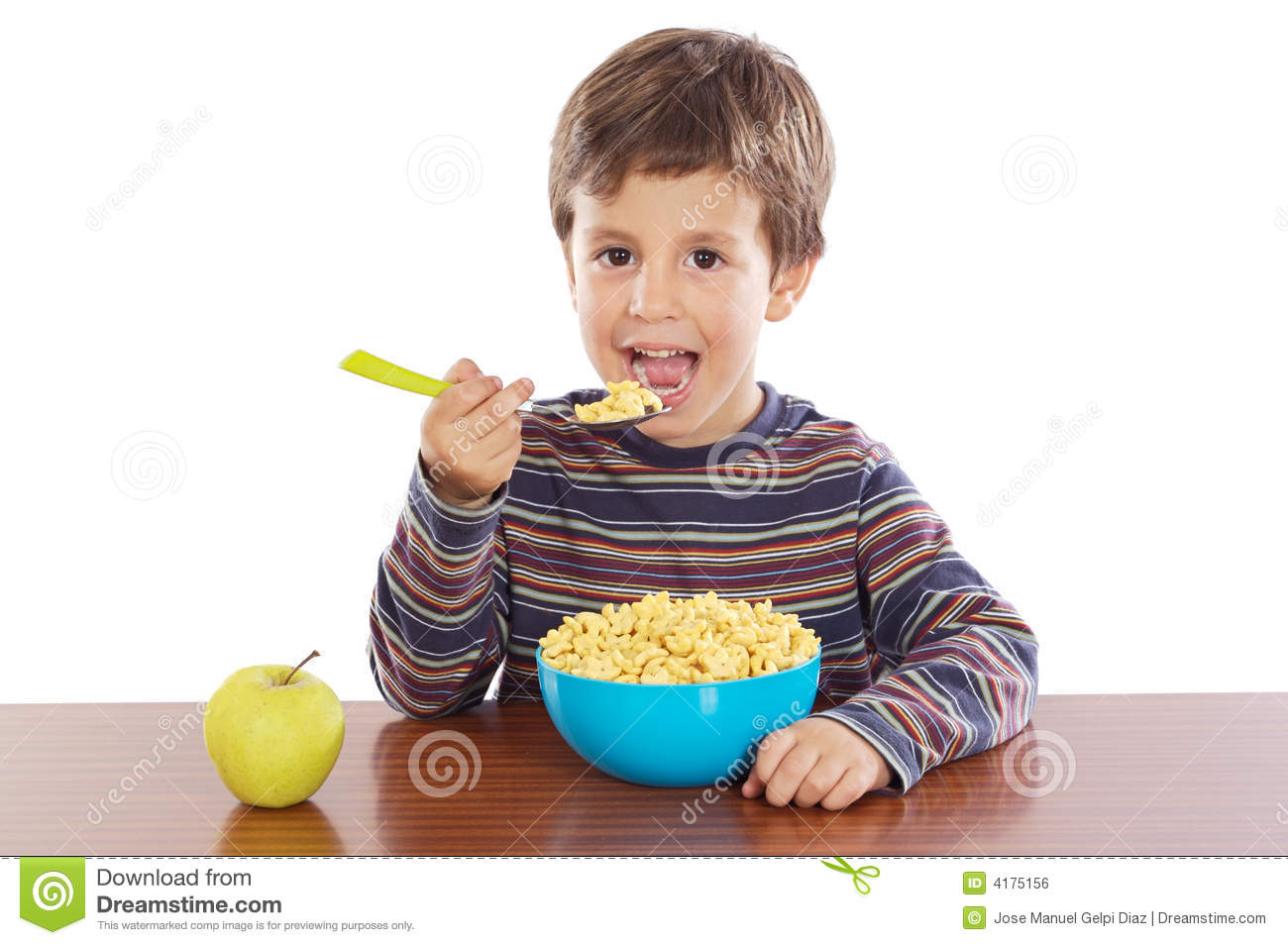 Child Eating Breakfast Royalty Free Stock Image - Image: 4175156