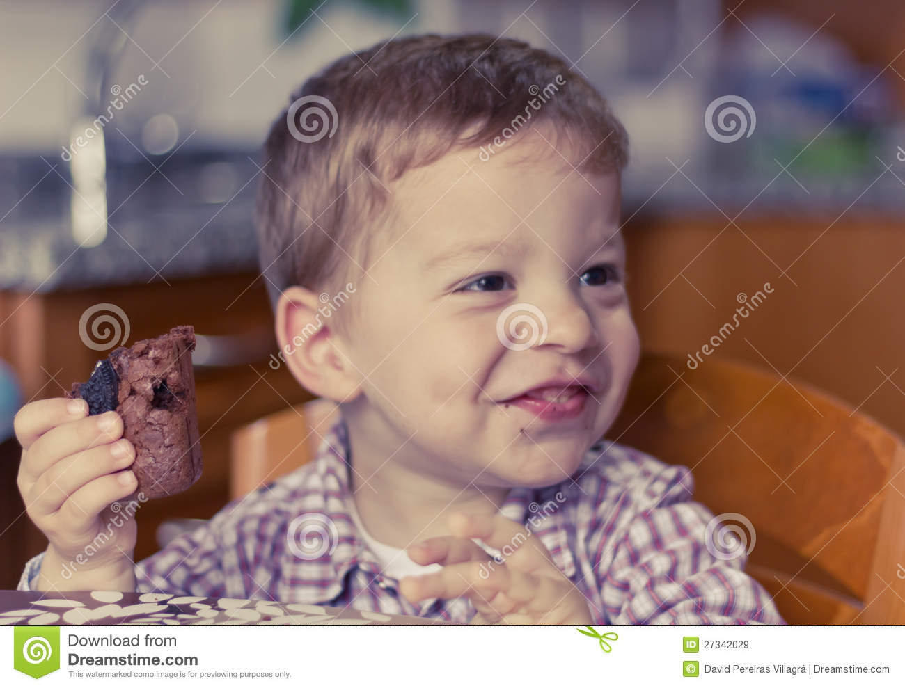 Child Eating Brownie Stock Image Image Of Smile Cute