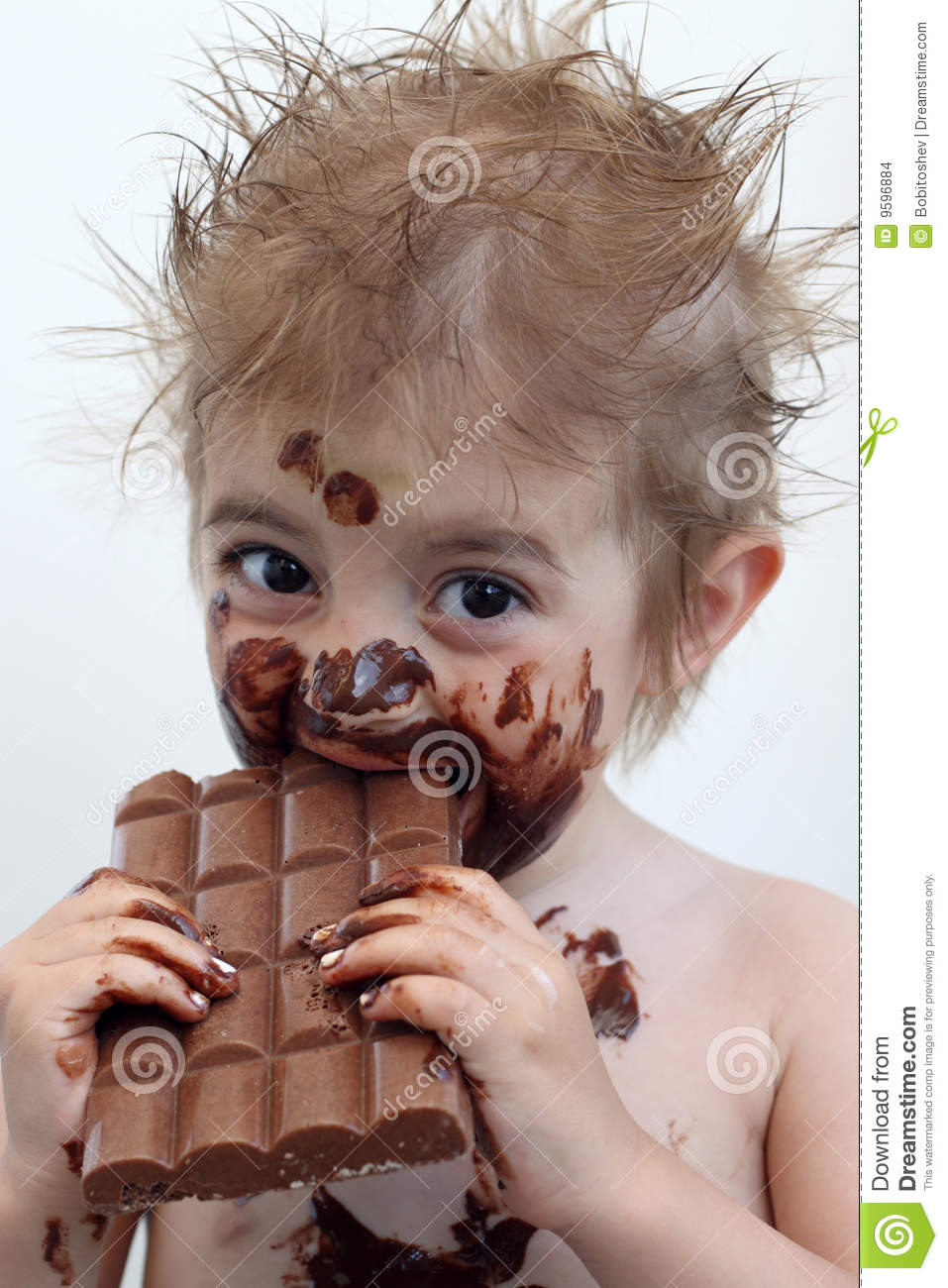 Child Eating Chocolate Stock Photo Image Of Messy Child
