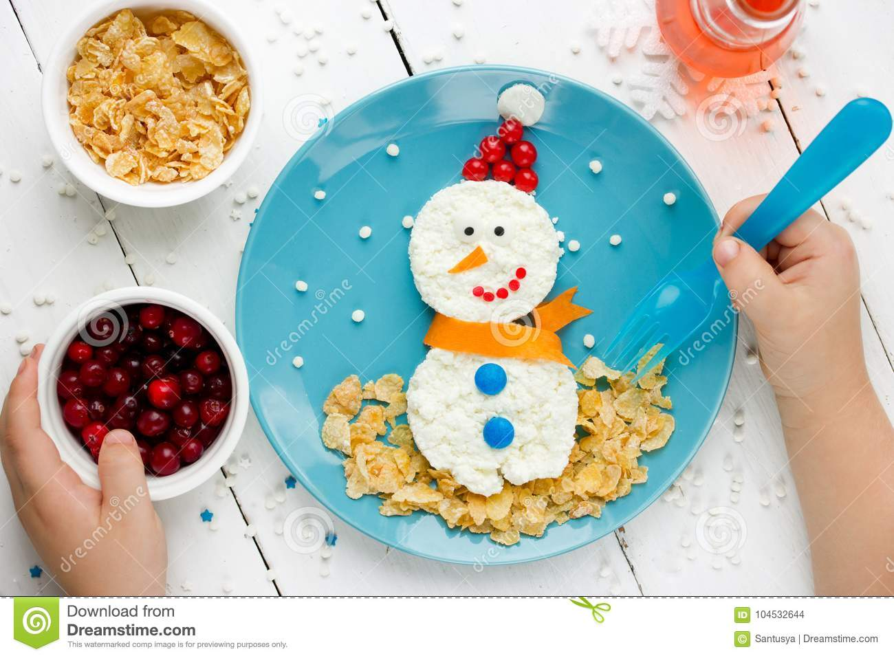 Incredible Child Eating Cottage Cheese Snowman Stock Photo Image Of Download Free Architecture Designs Grimeyleaguecom
